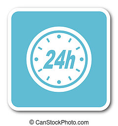 24h blue square internet flat design icon