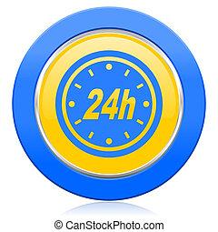 24h blue yellow icon