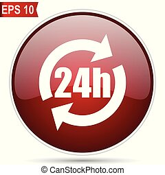 24h cherry red glossy round web vector icon. Editable simple circle modern design internet button on white background.