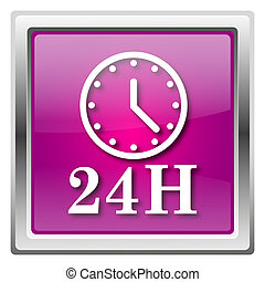 24H clock icon - Metallic icon with white design on fuchsia...