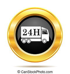 24H delivery truck icon. Internet button on white...