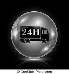 24H delivery truck icon - Shiny glossy icon - glass ball on...