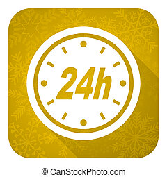 24h flat icon, gold christmas button