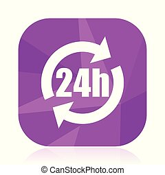 24h flat vector icon. Sevice violet web button. Internet square sign. Text modern design symbol in eps 10.