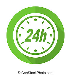 24h green flat icon