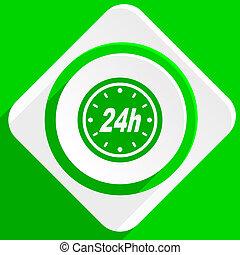 24h green flat icon