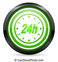 24h green glossy icon on white background