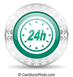 24h green icon, christmas button