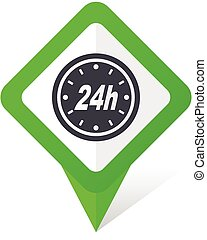24h green square pointer vector icon in eps 10 on white background with shadow.