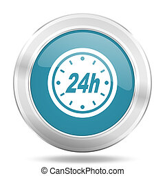 24h icon, blue round glossy metallic button, web and mobile app design illustration