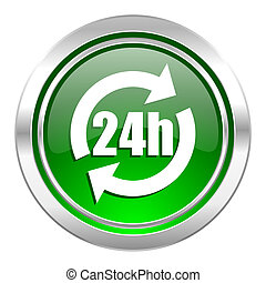 24h icon, green button
