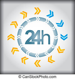 24h icon with arrows