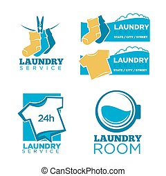 24h laundry room service isolated promotional emblems set....