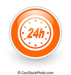 24h orange circle glossy web icon on white background