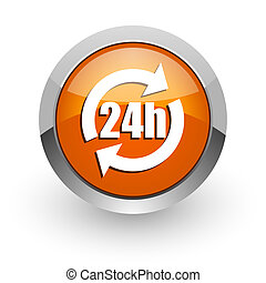 24h orange glossy web icon
