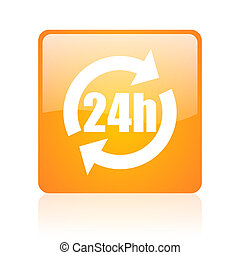 24h orange square glossy web icon