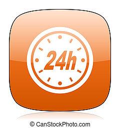 24h orange square web design glossy icon