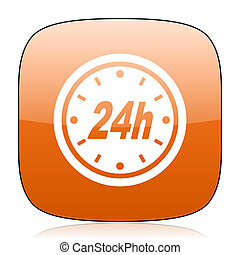 24h orange square web design glossy icon