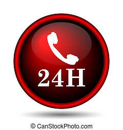 24H phone icon. Internet button on white background.