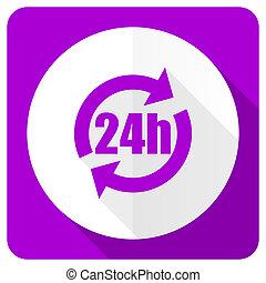 24h pink flat icon