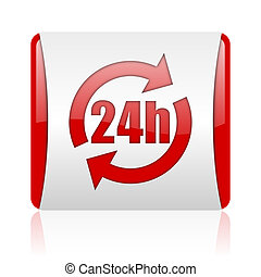 24h red and white square web glossy icon