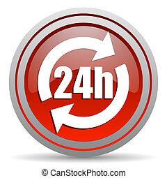 24h red glossy icon on white background