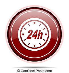 24h red glossy round web icon. Circle isolated internet...