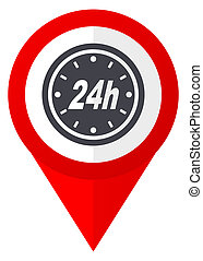 24h red web pointer icon. Webdesign button on white background.