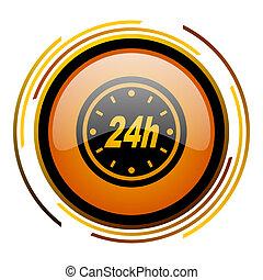 24h round design orange glossy web icon