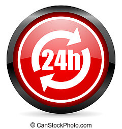 24h round red glossy icon on white background