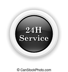 24H Service icon - Round plastic icon with white design on...