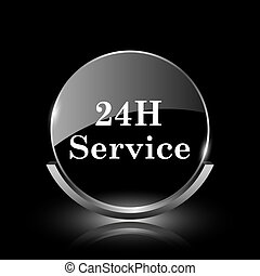 24H Service icon - Shiny glossy glass icon on black...