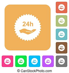 24h service sticker rounded square flat icons