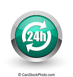 24h silver metallic chrome web design green round internet icon with shadow on white background.