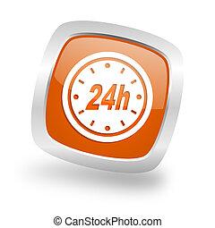 24h square orange glossy chrome silver metallic web icon