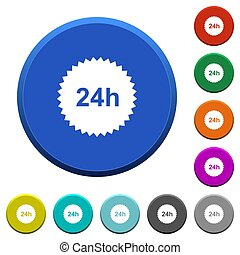 24h sticker beveled buttons - 24h sticker round color...