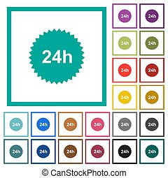 24h sticker flat color icons with quadrant frames on white...