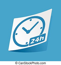 24h sticker - Sticker with 24h workhours icon, isolated on...
