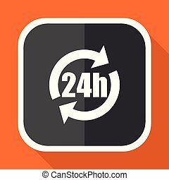 24h vector icon. Flat design square internet gray button on orange background.
