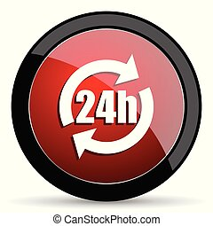 24h vector icon. Modern design red and black glossy web and mobile applications button in eps 10