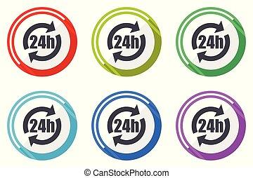 24h vector icons, set of colorful flat design internet symbols on white background