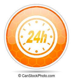 24h web icon. Round orange glossy internet button for webdesign.