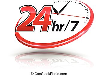 24hr, 鐘, 標識語, 服務, 規模