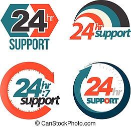 24hr 7day support set. Vector illustration.