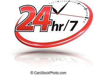 24hr, klocka, logo, tjänsten, väga