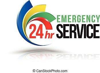 24hr, logo., servizio emergenza