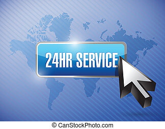 24hr service button illustration design