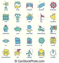 25, бизнес, концепция, смешивание, квартира, цвет, значок,...