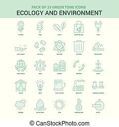 25, エコロジー, enviroment, セット, 緑, アイコン