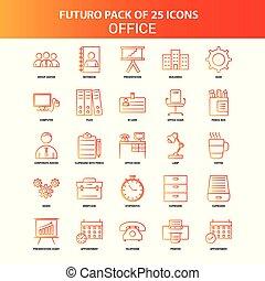 25, セット, オフィス, オレンジ, futuro, アイコン